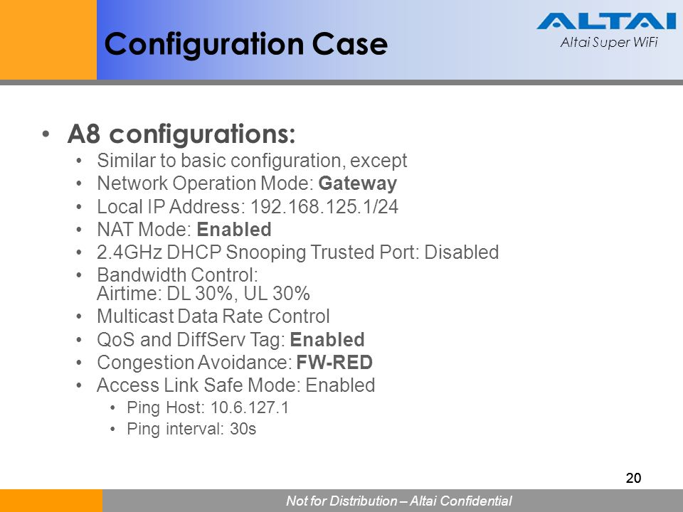 Configuration Case A8 configurations: