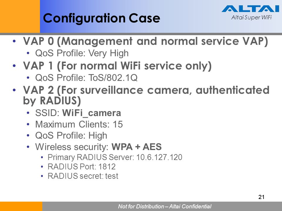 Configuration Case VAP 0 (Management and normal service VAP)