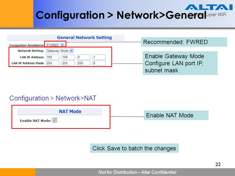 Configuration > Network>General