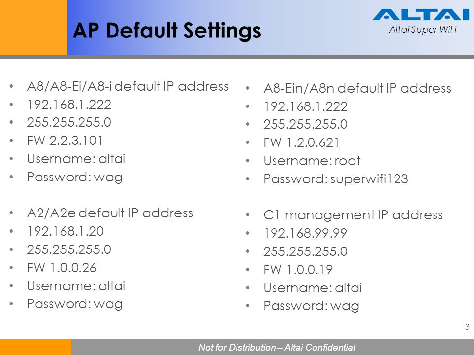 AP Default Settings A8/A8-Ei/A8-i default IP address