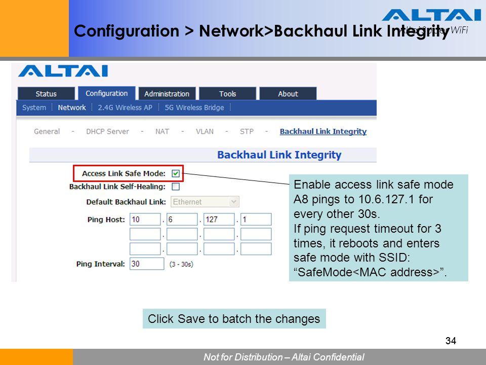 Configuration > Network>Backhaul Link Integrity