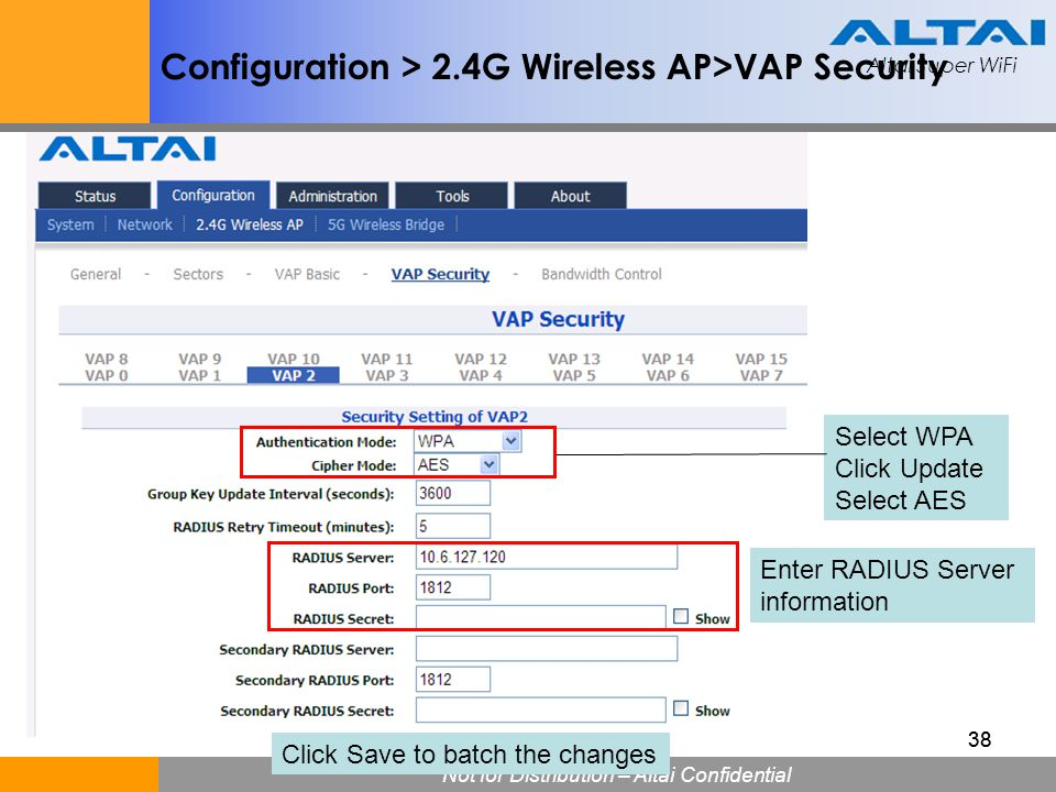 Configuration > 2.4G Wireless AP>VAP Security