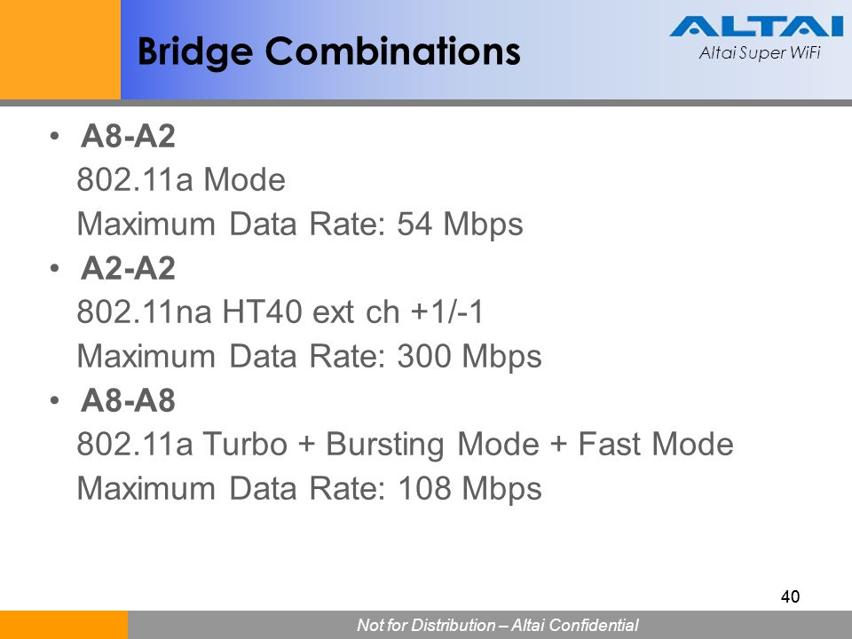 Bridge Combinations A8-A2 802.11a Mode Maximum Data Rate: 54 Mbps