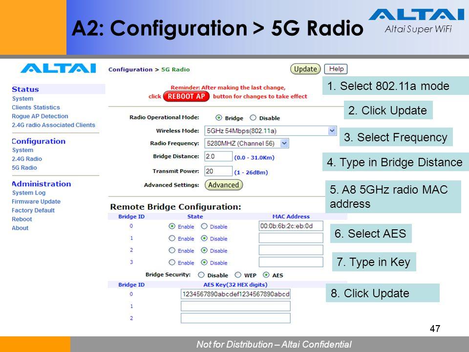 A2: Configuration > 5G Radio