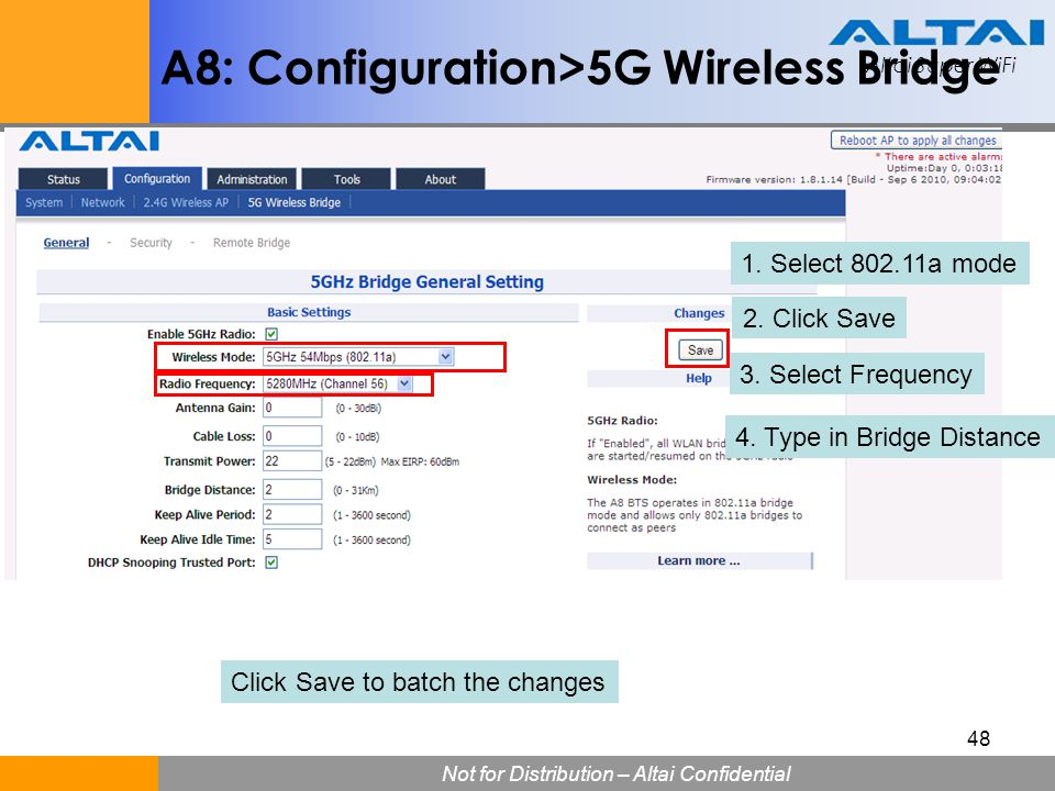 A8: Configuration>5G Wireless Bridge
