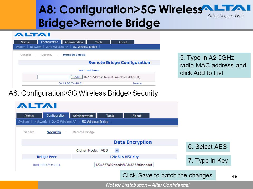 A8: Configuration>5G Wireless Bridge>Remote Bridge
