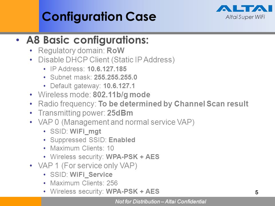 Configuration Case A8 Basic configurations: Regulatory domain: RoW