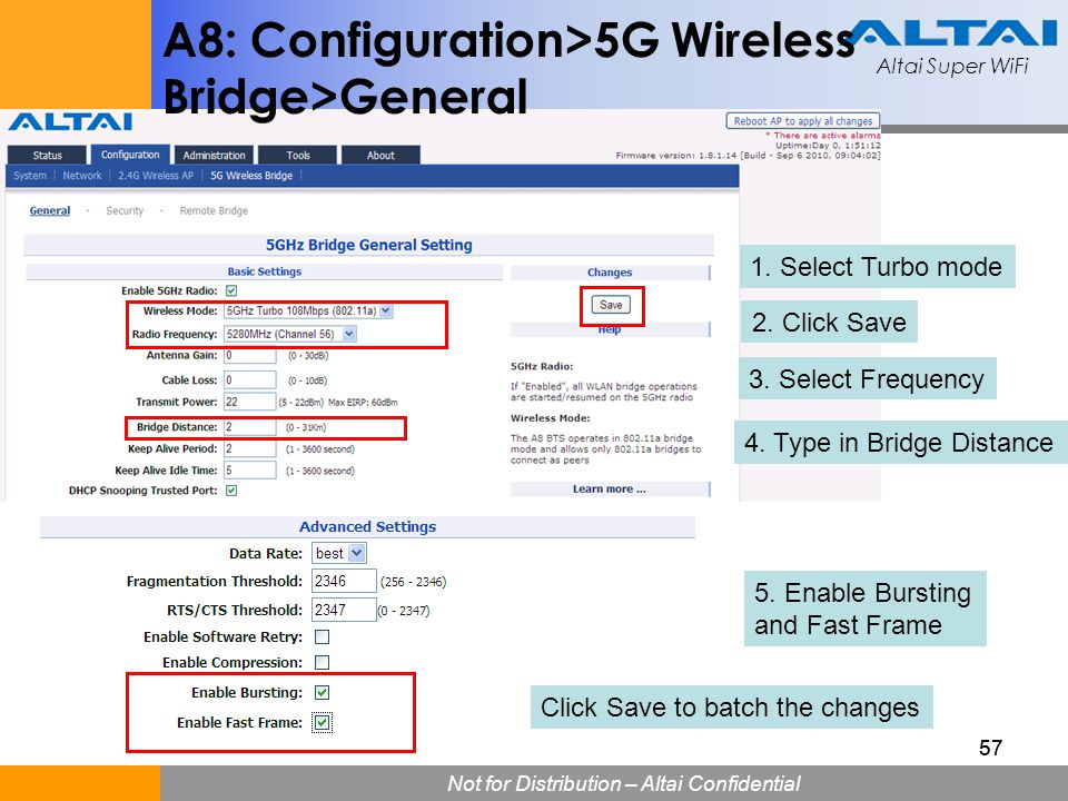 A8: Configuration>5G Wireless Bridge>General