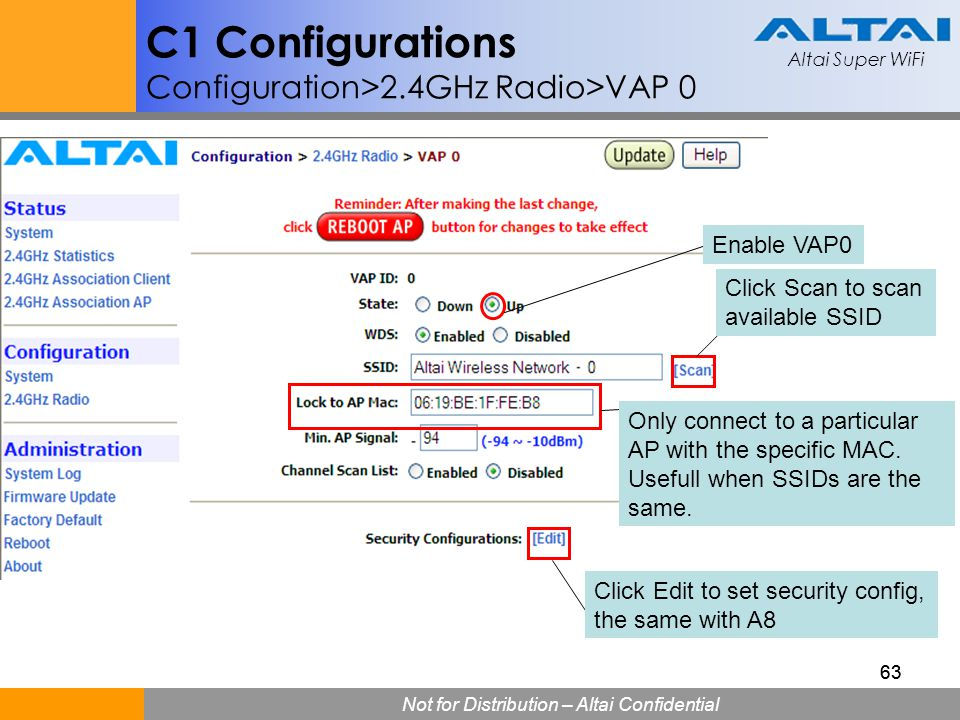 C1 Configurations Configuration>2.4GHz Radio>VAP 0
