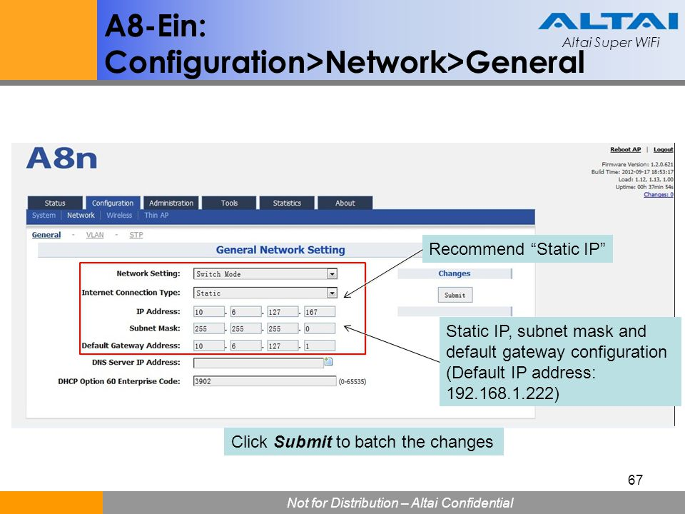 Configuration>Network>General