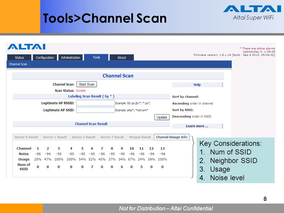 Tools>Channel Scan