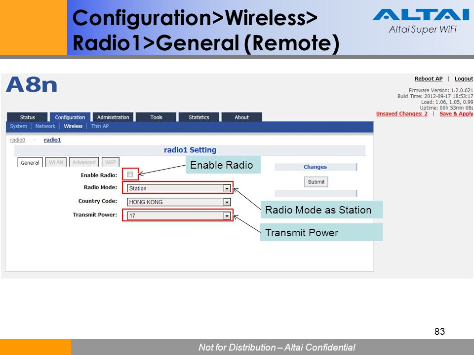 Configuration>Wireless> Radio1>General (Remote)