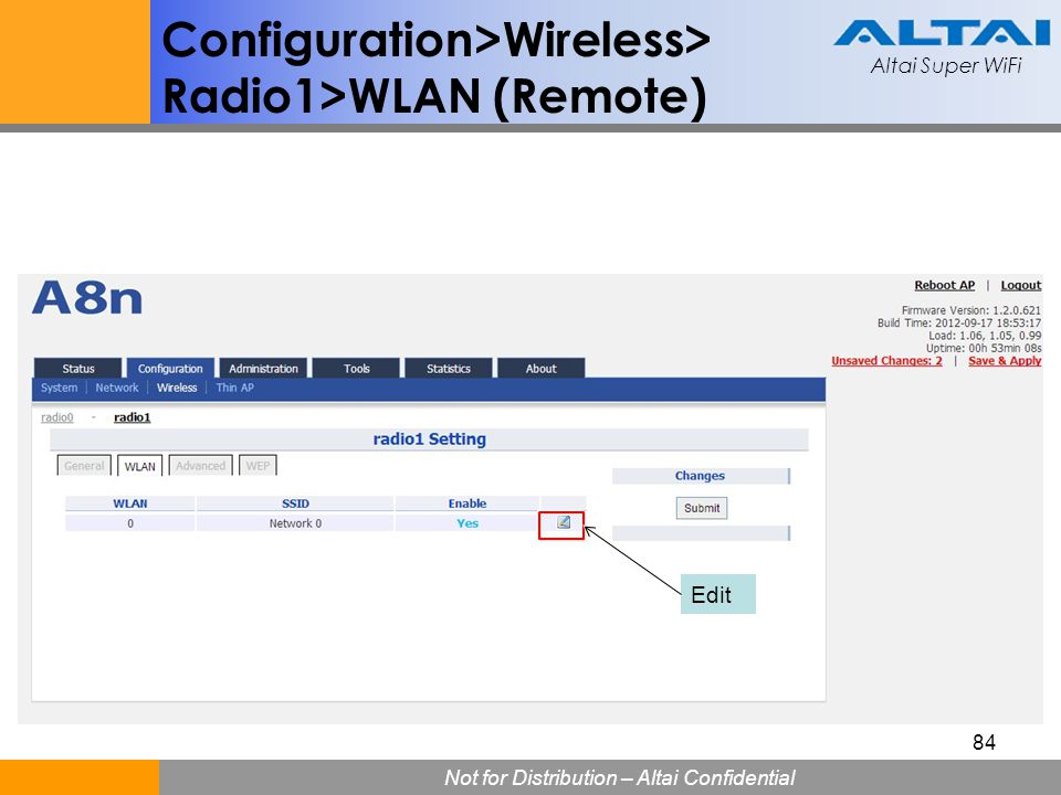 Configuration>Wireless> Radio1>WLAN (Remote)