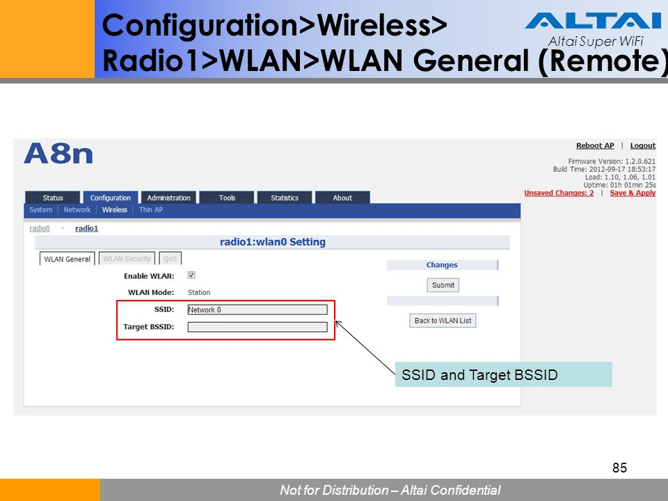 Configuration>Wireless> Radio1>WLAN>WLAN General (Remote)