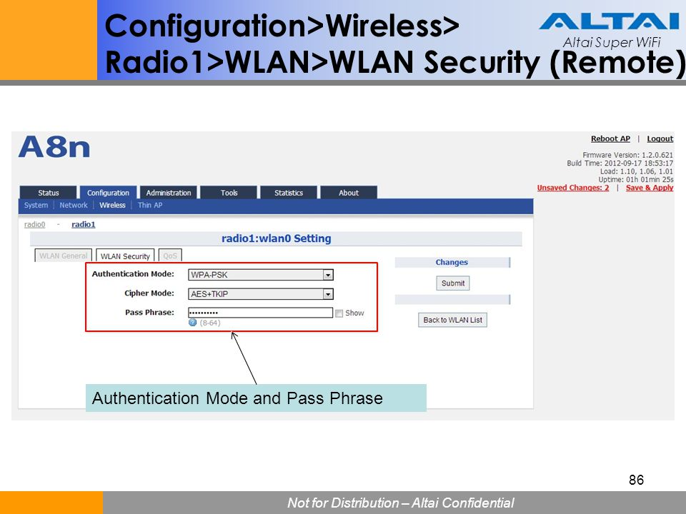 Configuration>Wireless> Radio1>WLAN>WLAN Security (Remote)