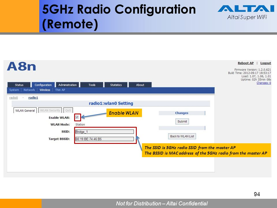 5GHz Radio Configuration (Remote)