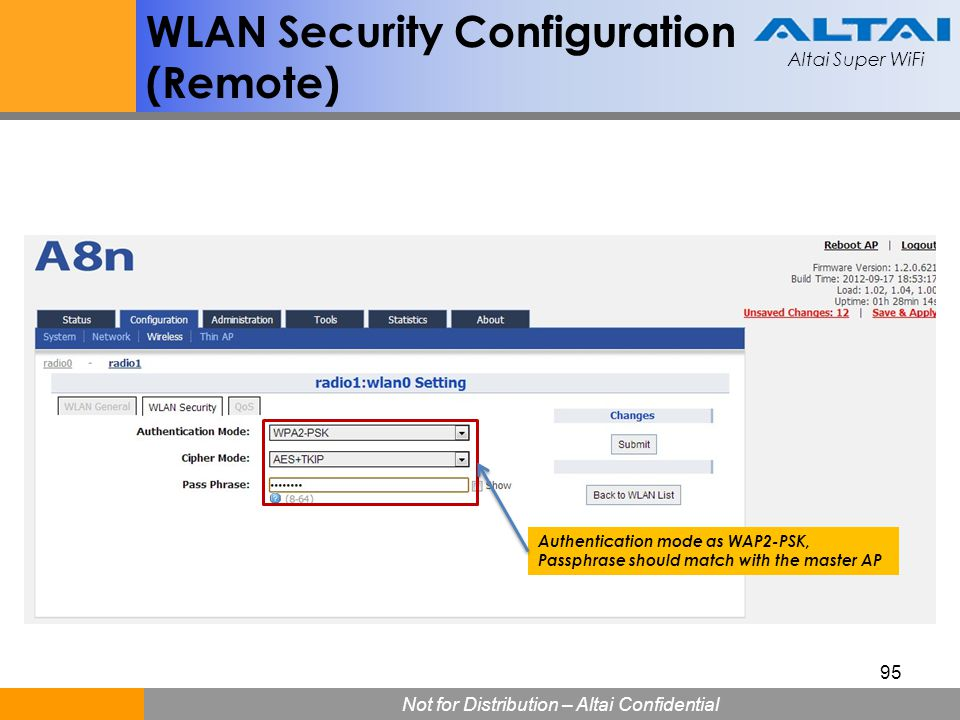 WLAN Security Configuration (Remote)