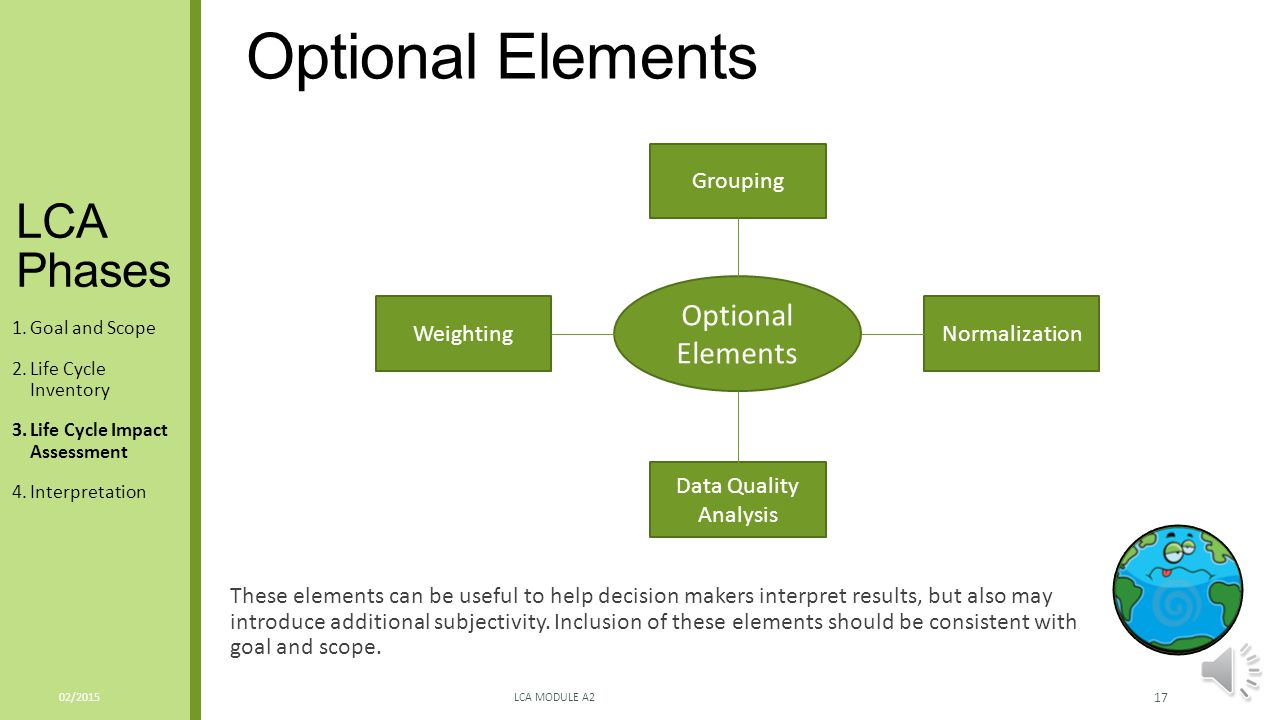 Optional Elements LCA Phases Optional Elements Grouping Weighting