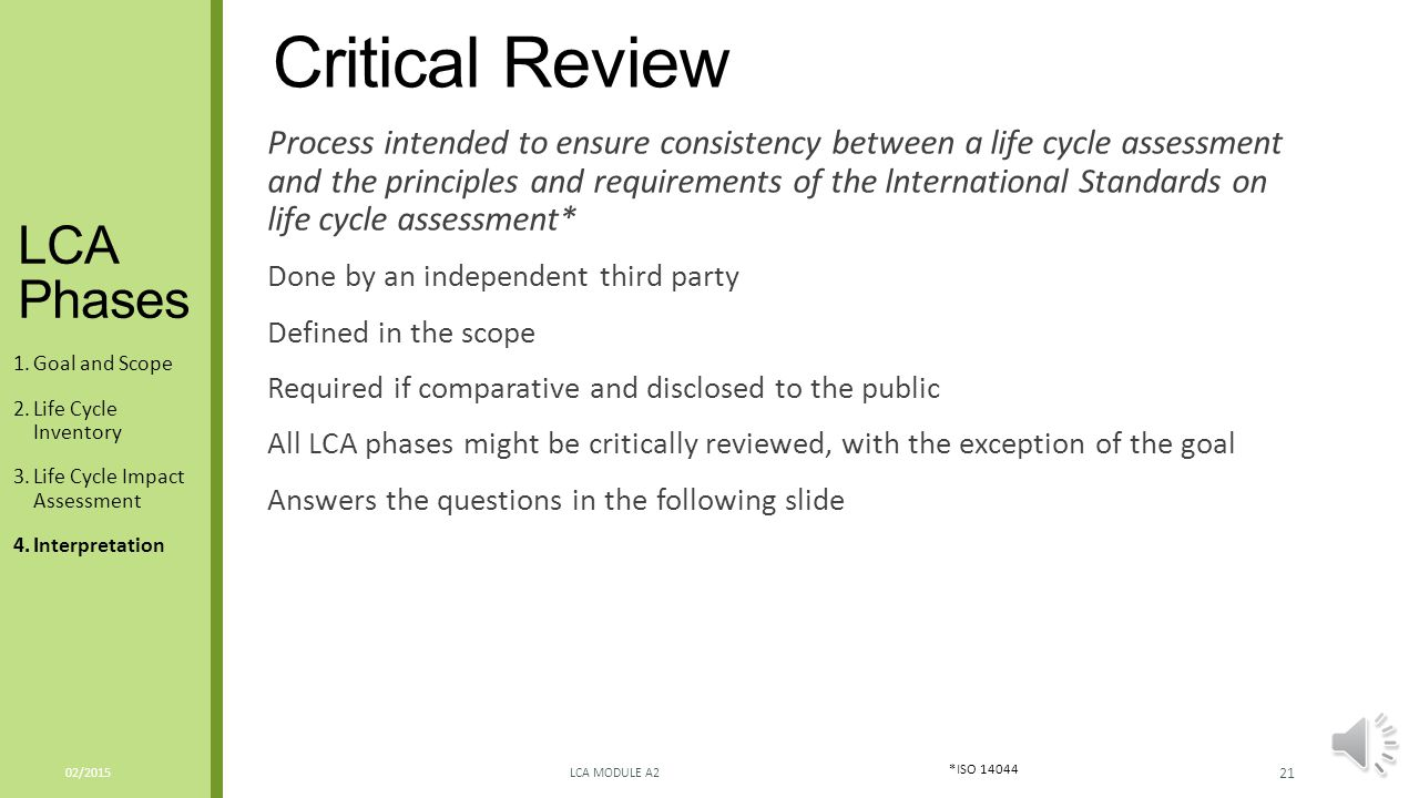 Critical Review LCA Phases