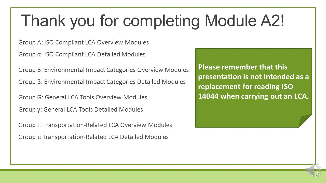 Thank you for completing Module A2!