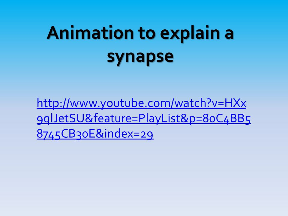 Animation to explain a synapse