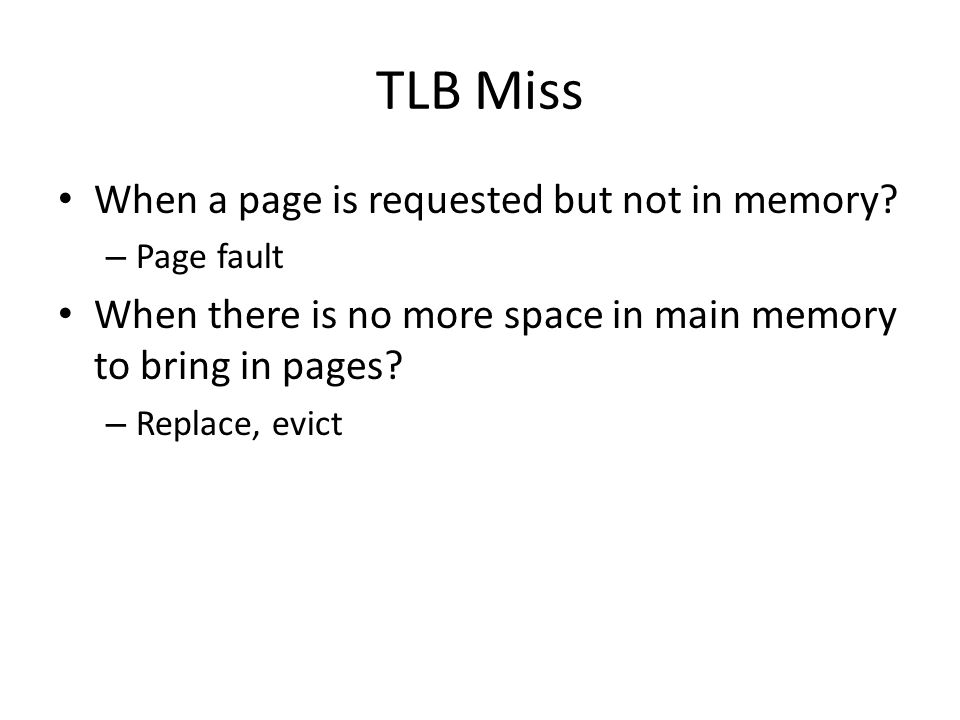 TLB Miss When a page is requested but not in memory