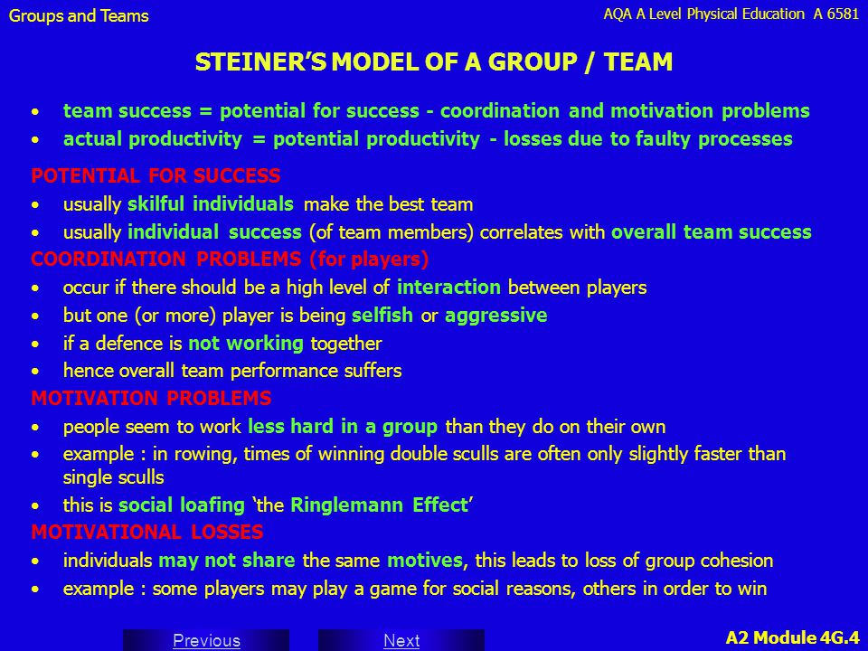STEINER'S MODEL OF A GROUP / TEAM