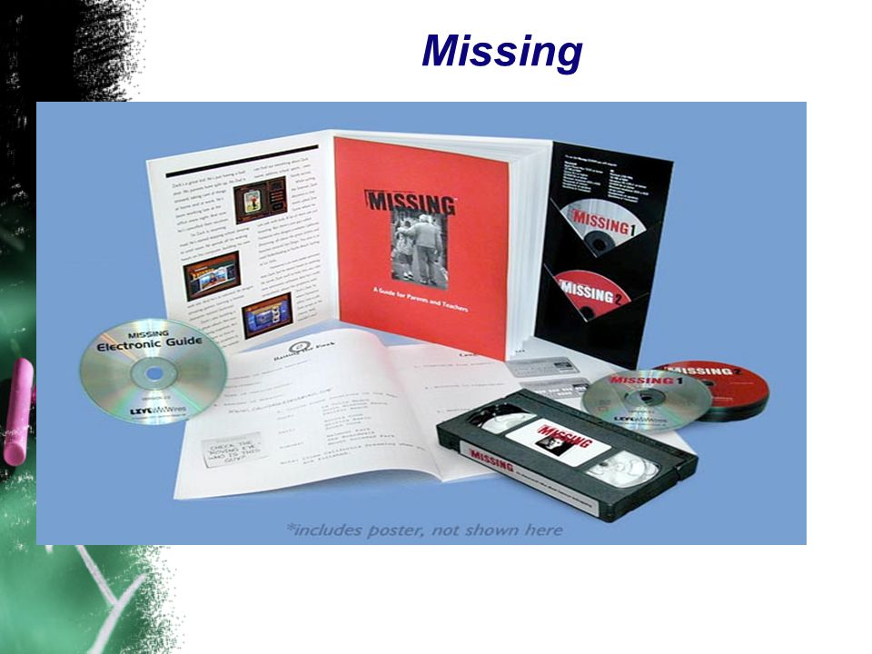 Missing Describe the Missing School Kit – 2 parts – a video & workbook format for adults and the a detective game & notebook for kids.