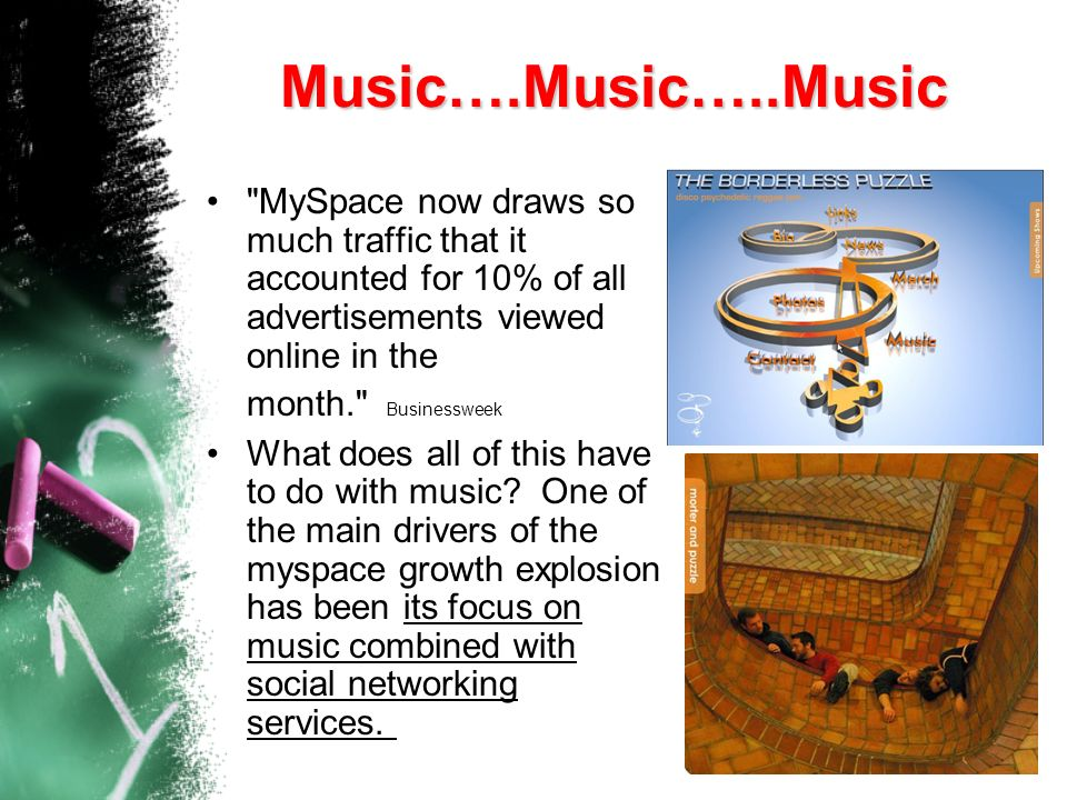 Music….Music…..Music MySpace now draws so much traffic that it accounted for 10% of all advertisements viewed online in the month. Businessweek.