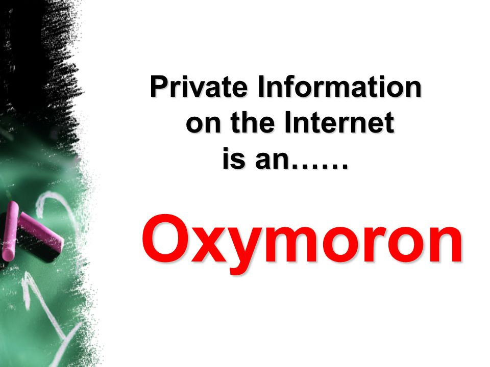 Private Information on the Internet is an……