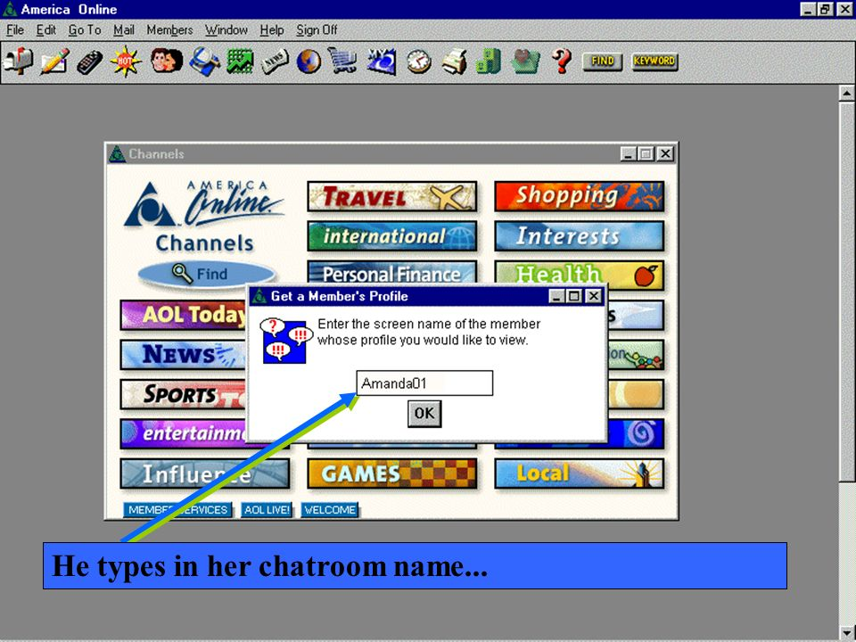 He types in her chatroom name...