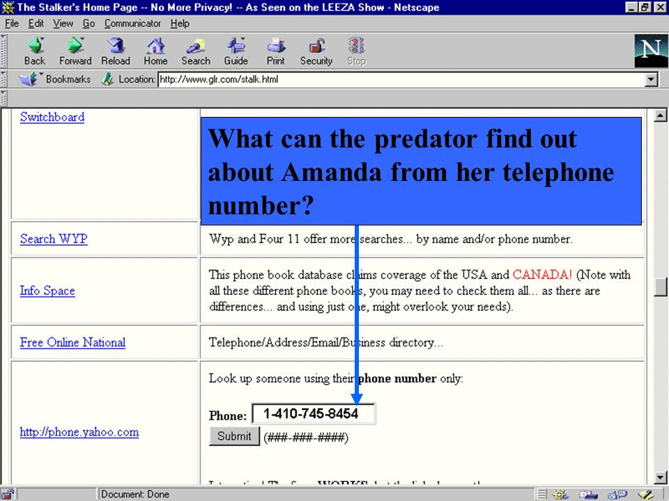 What can the predator find out about Amanda from her telephone number