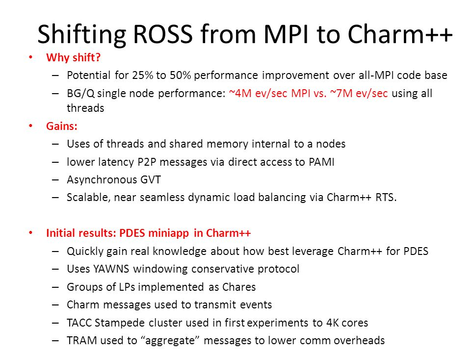 Shifting ROSS from MPI to Charm++