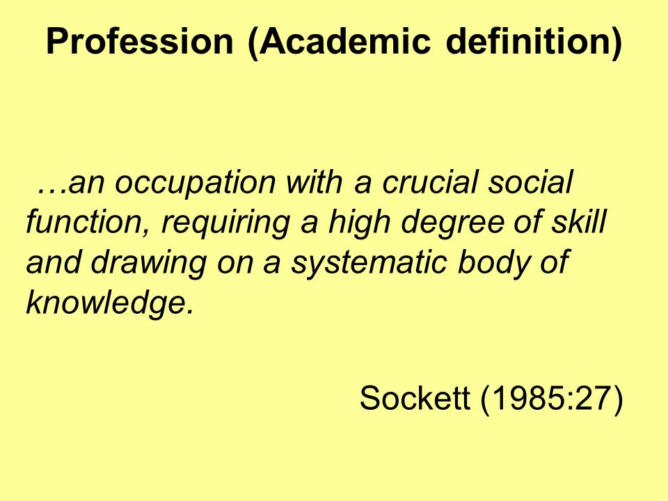 Profession (Academic definition)