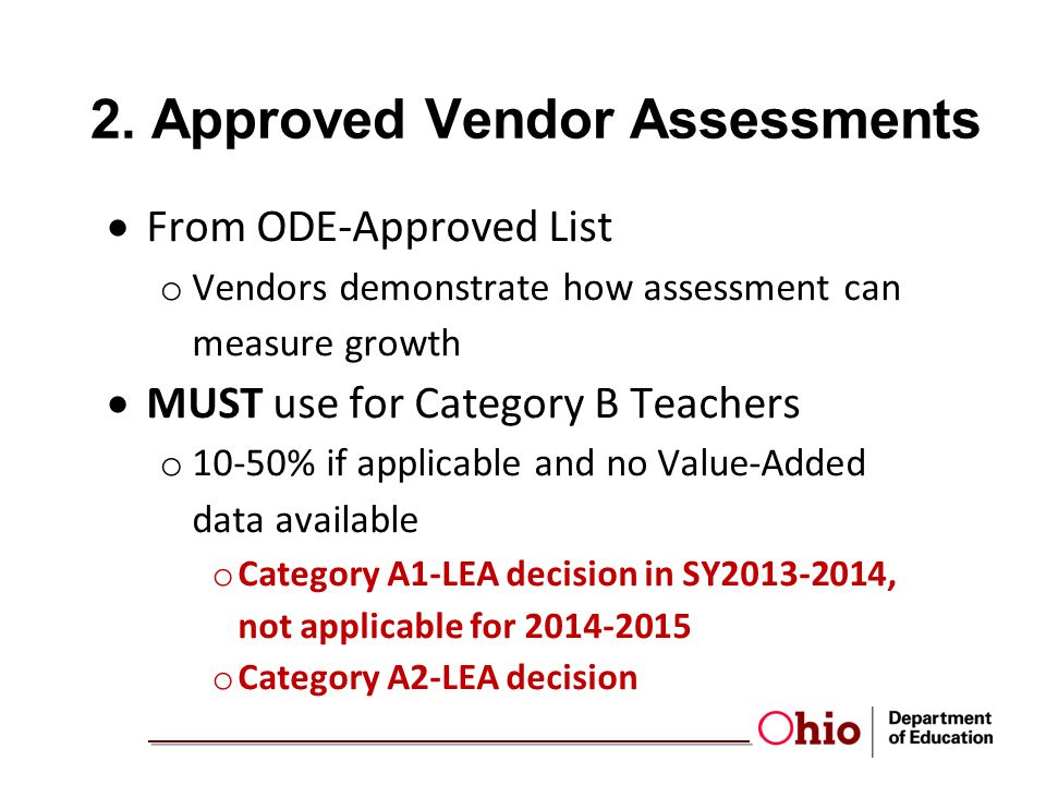2. Approved Vendor Assessments