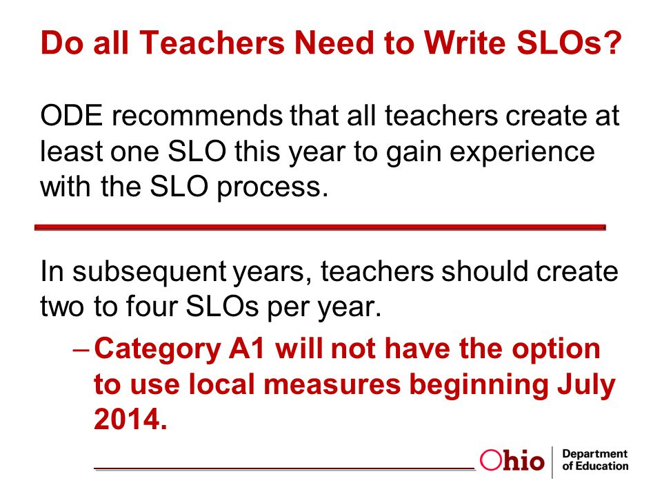 Do all Teachers Need to Write SLOs
