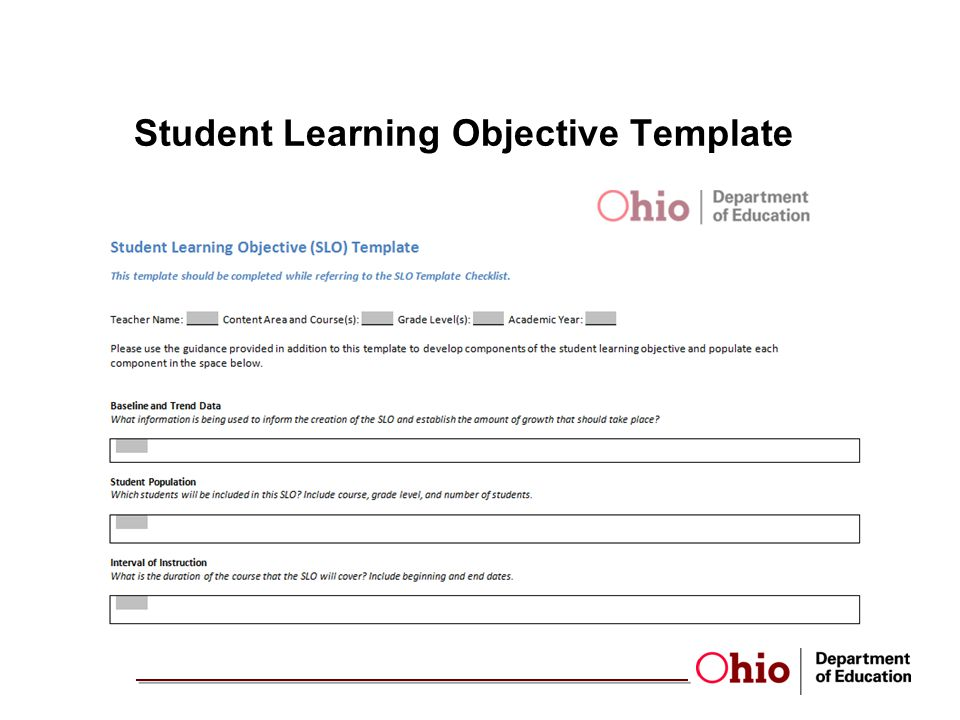 Student Learning Objective Template