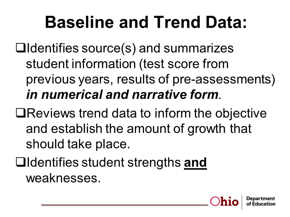 Baseline and Trend Data: