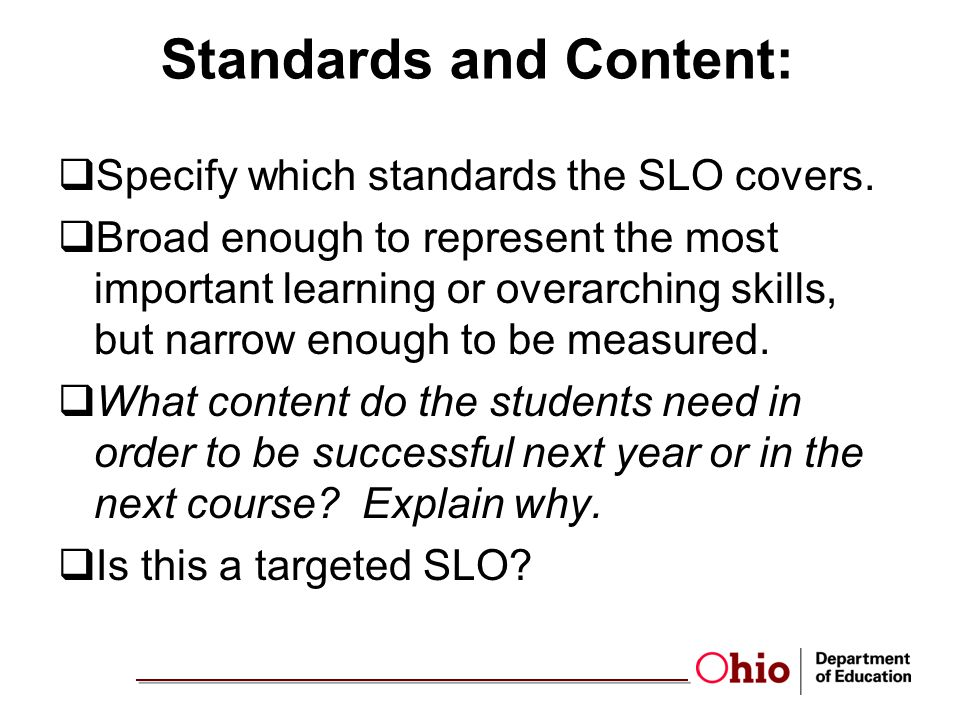 Standards and Content: