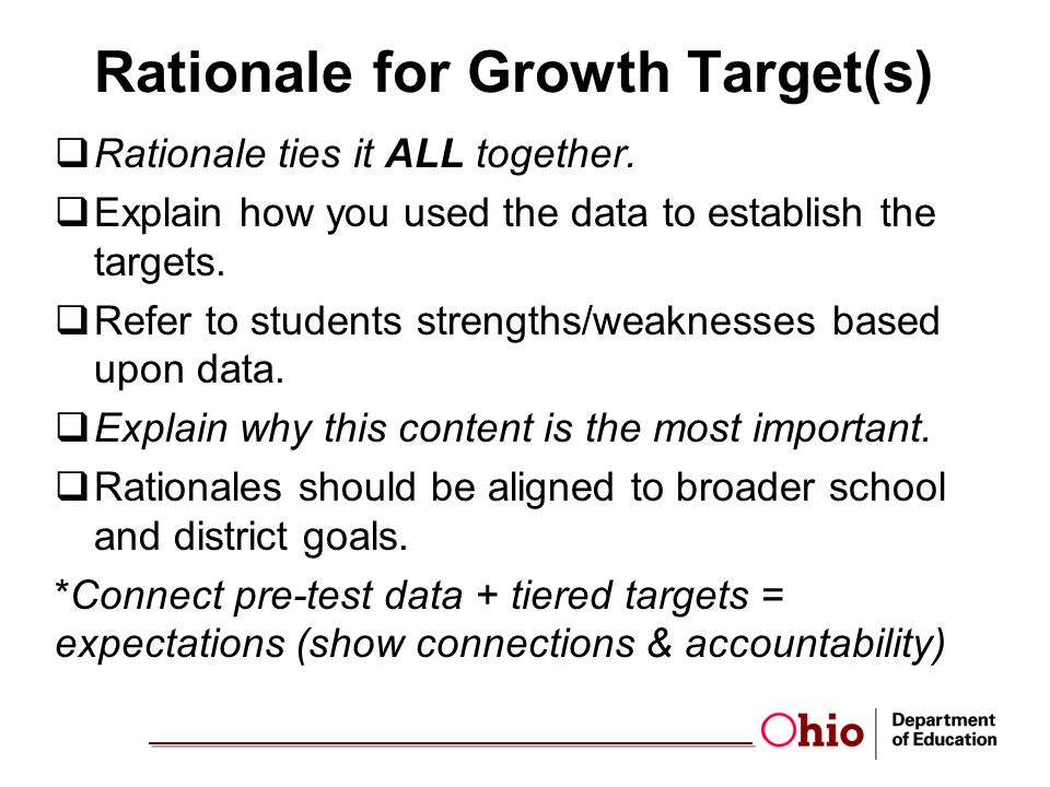 Rationale for Growth Target(s)