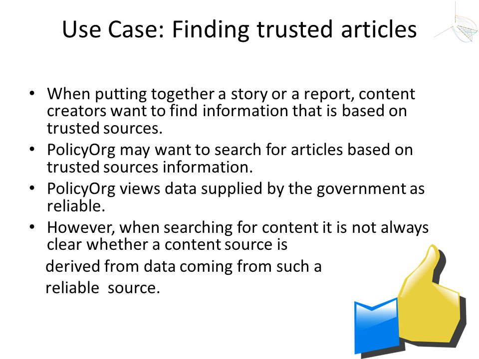 Use Case: Finding trusted articles