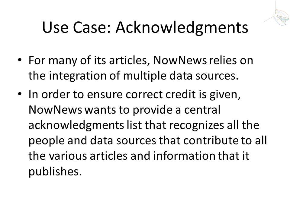 Use Case: Acknowledgments