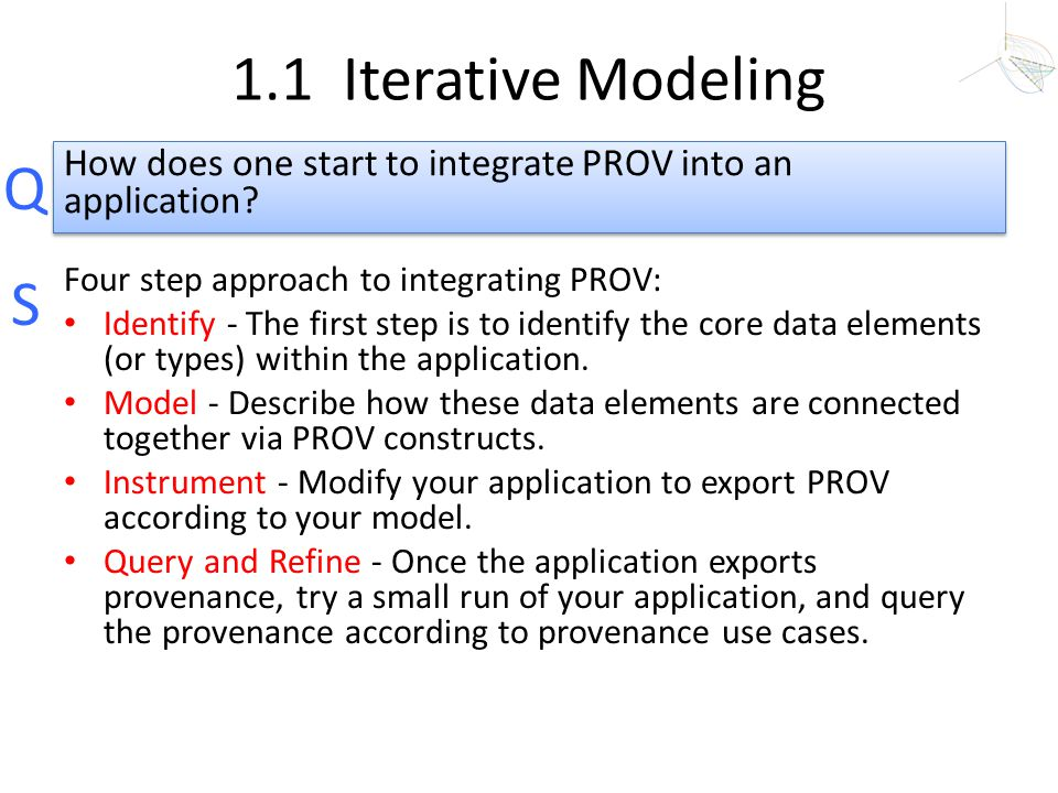 1.1 Iterative Modeling How does one start to integrate PROV into an application Four step approach to integrating PROV:
