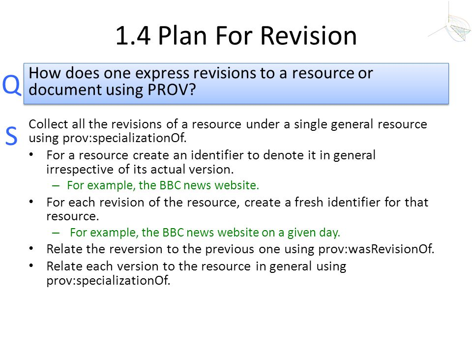 1.4 Plan For Revision How does one express revisions to a resource or document using PROV