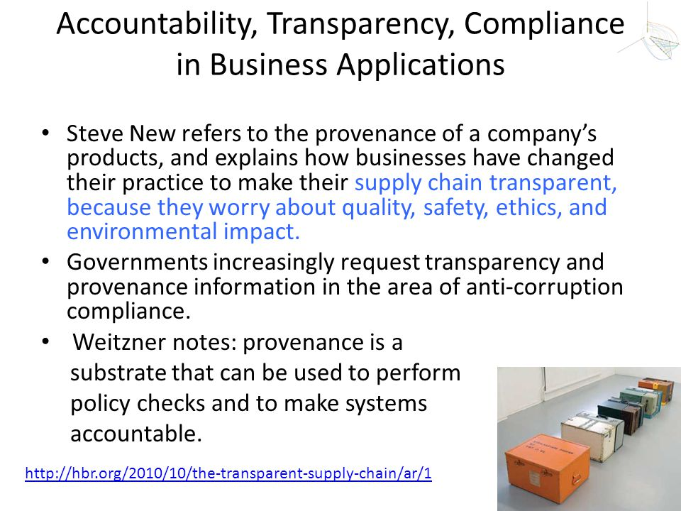 Accountability, Transparency, Compliance in Business Applications