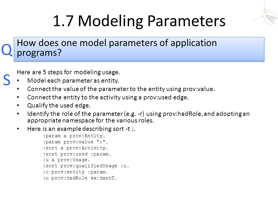 1.7 Modeling Parameters How does one model parameters of application programs Here are 5 steps for modeling usage.