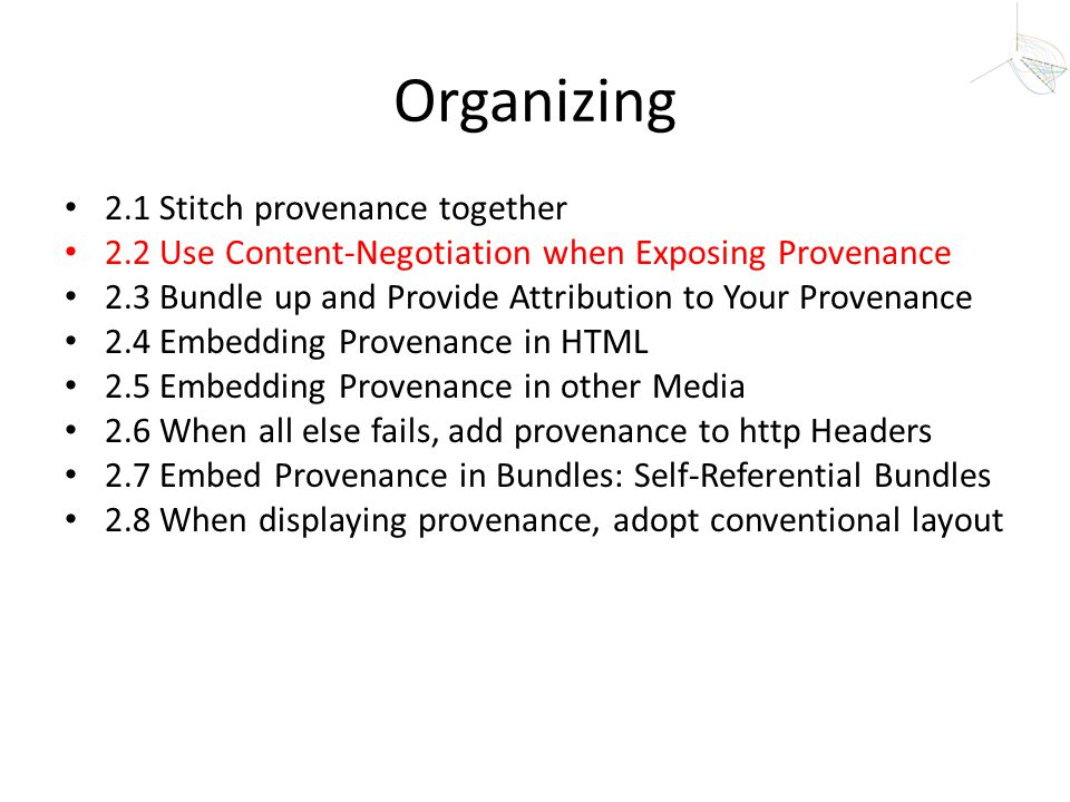 Organizing 2.1 Stitch provenance together