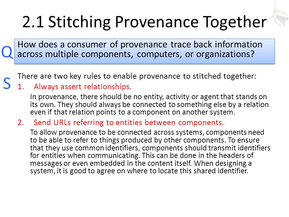 2.1 Stitching Provenance Together