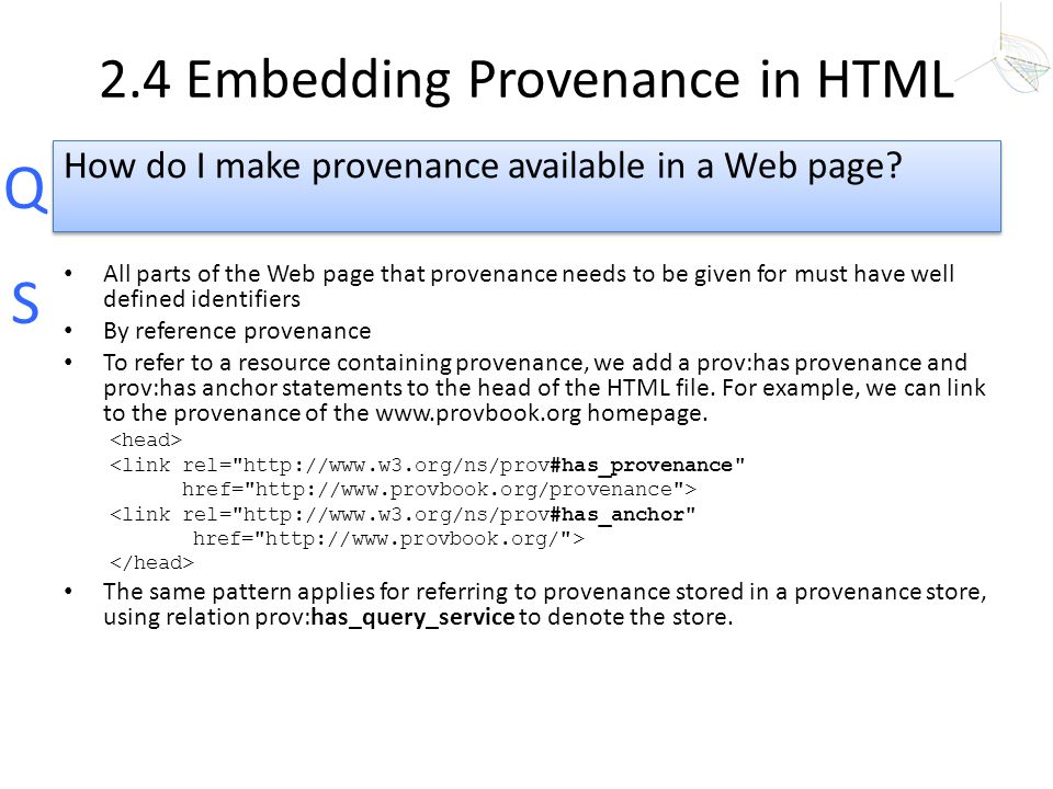 2.4 Embedding Provenance in HTML