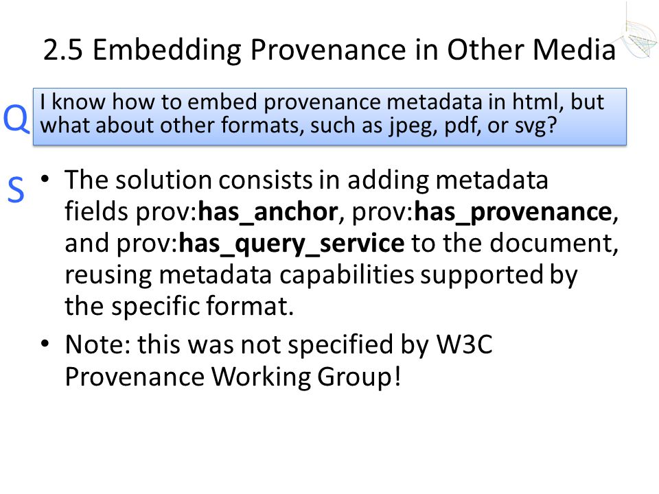 2.5 Embedding Provenance in Other Media